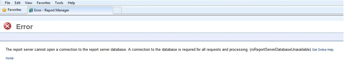 SSRS errors: (rsReportServerDatabaseUnavailable) The report